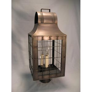 Livery Dark Antique Brass Three-Light Outdoor Post Light with Clear Glass