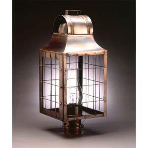 Dark Antique Brass H-Rods Post-Mount Lantern