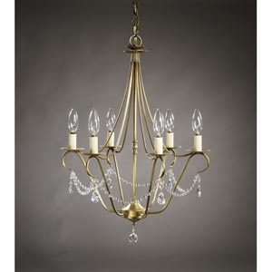 Antique Brass Six-Light Chandelier with Crystal Accents