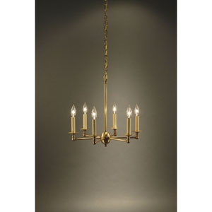 Antique Brass Six-Light Chandelier
