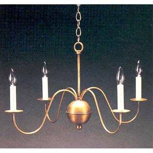 Antique Brass Four-Light S-Arm Chandelier