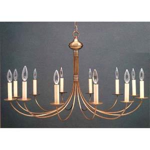 Antique Brass Twelve-Light Candelabra Chandelier