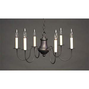 Dark Brass S-Arm Colonial Chandelier