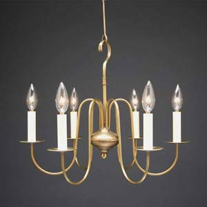 Antique Brass Colonial Six-Light Chandelier