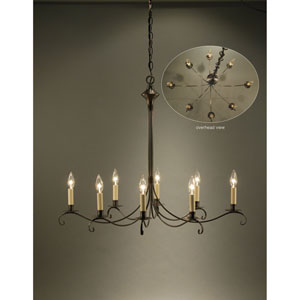 Dark Brass Six-Light Chandelier