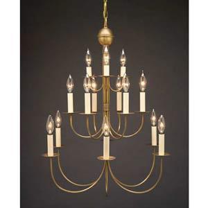 Antique Brass Fifteen-Light, Three-Tier Chandelier