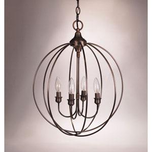 Dark Antique Brass Four-Light Chandelier