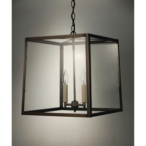Dark Brass Two-Light Chandelier with Clear Glass