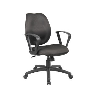 Boss 27-Inch Black Task Chair with Loop Arms