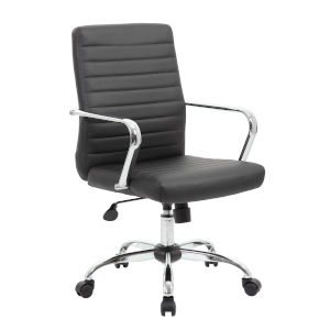 Boss 22-Inch Balck Retro Task Chair with Chrome Fixed Arms