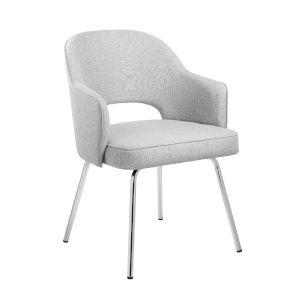 Grey 25-Inch Linen Guest Chair