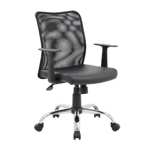 Boss 27-Inch Black Budget Mesh Task Chair with T-Arms