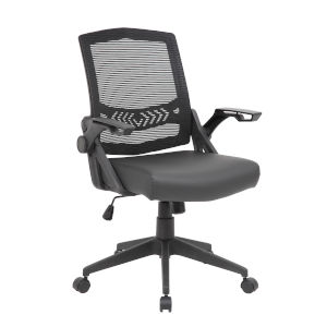 Boss 27-Inch Black Mesh Flip Arm Task Chair