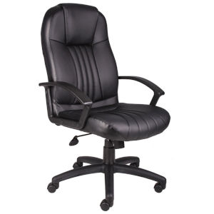 Boss 27-Inch Black High Back Leather Plus Chair