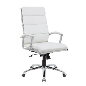 Boss 28-Inch White Executive chair with Metal Chrome