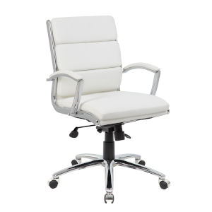 Boss 27-Inch White Executive chair with Metal Chrome
