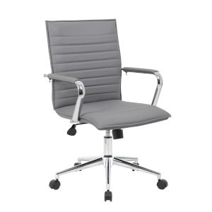 Boss 23-Inch Grey Vinyl Hospitality Chair