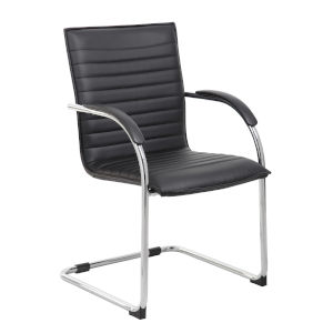 Boss 25-Inch Black Vinyl Side Chair, Set of 2