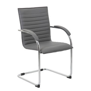Boss 25-Inch Grey Vinyl Side Chair, Set of 2