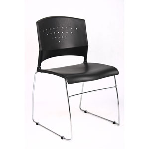 Boss Black Stack Chair With Chrome Frame, Set of 4