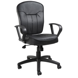 Boss Black Leather Task Chair with Loop Arms