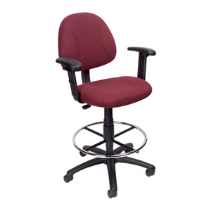 Boss Drafting Stool with Footring And Adjustable Arms