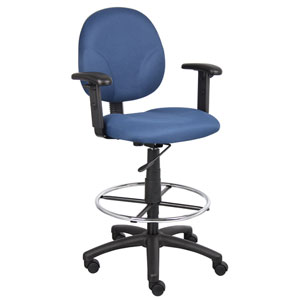 Boss Blue Fabric Drafting Stools with Adjustable Arms and Footring