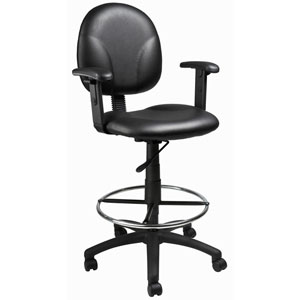 Boss Black Caressoft Drafting Stools with Adjustable Arms and Footring
