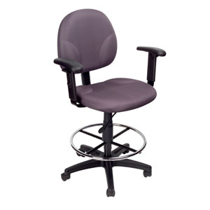 Boss Gray Fabric Drafting Stools with Adjustable Arms and Footring