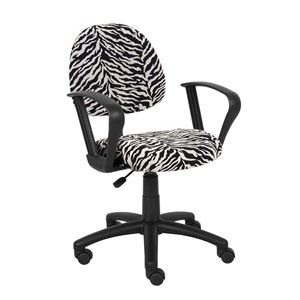 Boss Zebra Print Microfiber Deluxe Posture Chair with Loop Arms