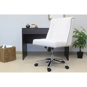 Boss Decorative Task Chair - White Velvet