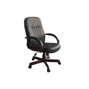 Boss LeatherPlus Exec Chair with Mahogany Finish