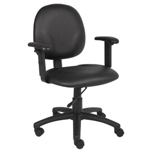 Boss Diamond Task Chair In Black Caressoft with Adjustable Arms