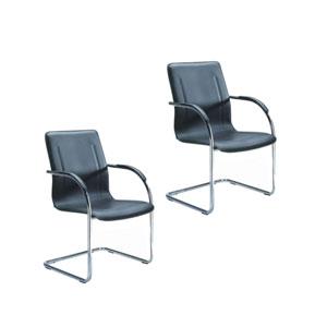 Boss Chrome Frame Black Vinyl Side Chair, Set of 2