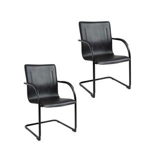 Boss Black Frame Black Vinyl Side Chair, Set of 2