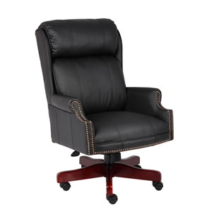 Boss Traditional High Back Caressoft Plus Chair with Mahogany Base