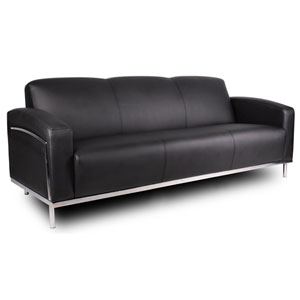 Boss Black Caressoft Plus Sofa with Chrome Frame