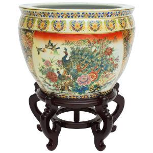 Familie Rose Multicolor 12-Inch Porcelain Fishbowl Planter