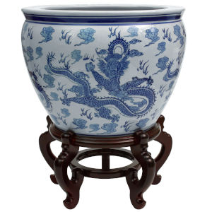 Dragon Blue and White 14-Inch Porcelain Fishbowl Planter