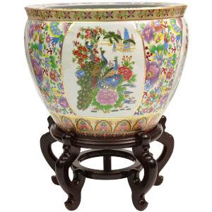 Satsuma Birds and Flowers Multicolor 14-Inch Porcelain Fishbowl Planter