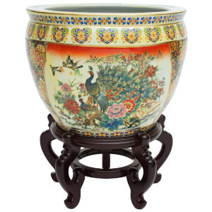 Familie Rose Multicolor 14-Inch Porcelain Fishbowl Planter