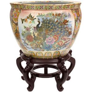 Satsuma Garden and Peacock Multicolor 14-Inch Porcelain Fishbowl Planter