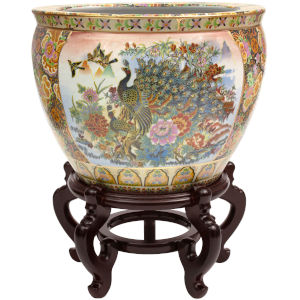 Satsuma Garden and Peacock Multicolor 18-Inch Porcelain Fishbowl Planter