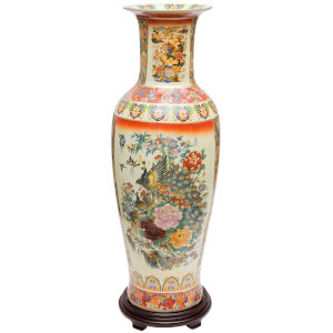 Satsuma Peacock Multicolor 35-Inch Porcelain Tung Chi Vase