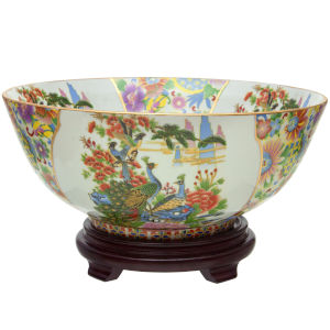Satsuma Birds and Flowers Multicolor Porcelain Bowl