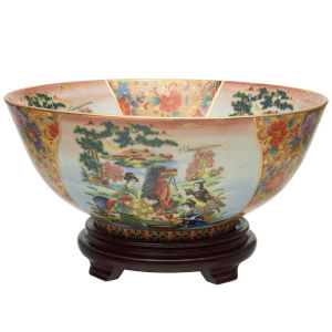 Horse In Meadow Multicolor Porcelain Bowl