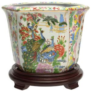 Satsuma Birds and Flowers Multicolor Porcelain Indoor Flower Pot