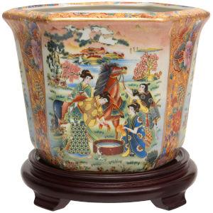 Horse In Meadow Multicolor Porcelain Indoor Flower Pot