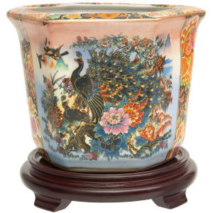 Satsuma Peacock Multicolor Porcelain Indoor Flower Pot