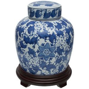 Blue and White Floral Porcelain Ginger Jar